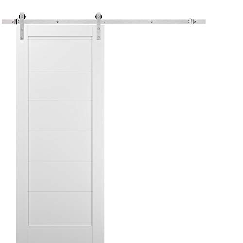 Sliding Barn Door 42 x 96 with Stainless Steel 8ft Hardware | Quadro 4115 White Silk | Top Mount Rail Hangers Sturdy…