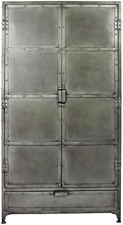 "MOTI Sheridan 36"" 2-Door and 1 Drawer Mid-Century Metal Armoire in Gray"