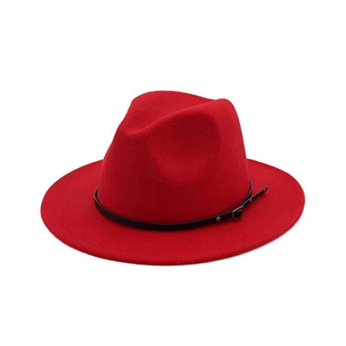 Red Wool Large Brim Hat (Lanzom Women Lady Retro Wide Brim Floppy Panama Hat Belt Buckle Wool Fedora Hat (Red, One Size))