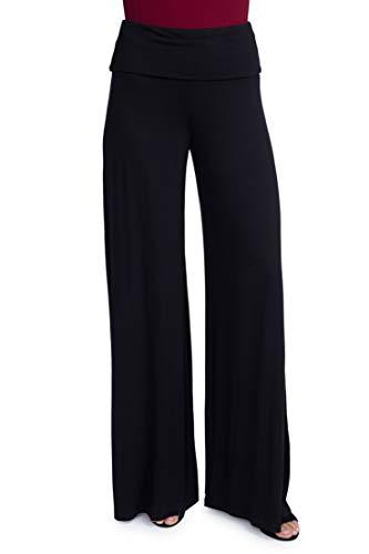 Yelete Women's Fashion Colorful Printed High Waist Fold Over Wide Leg Palazzo Pants (Medium, Black)