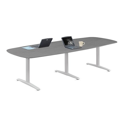 Burnt Strand Laminate T-Leg Conference Table with Silver Legs - 117'W - Plus Collection