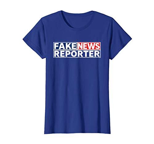 Womens FAKE NEWS REPORTER Halloween Costume Shirt - Funny Political Medium Royal Blue