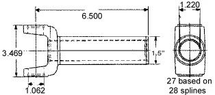 TADD TD2-3-8251X FORD C-4//AOD//T5 27 Spline Transmission Slip Yoke 2-3-8251X