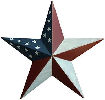 CVHOMEDECO. Primitives Vintage Gifts American Flag Metal Barn Star Wall/Door Decor