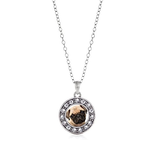 Inspired-Silver-Pug-Circle-Charm-Necklace-Clear-Crystal-Rhinestones