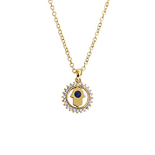 Obidos Egyptian Hamsa Hand of Fatima Pendant Choker Necklace Success and Protection Lucky Jewelry Gift