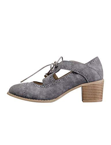 Grey Basse Stringate Poplover Scarpe Donna Suede zURqRSHg