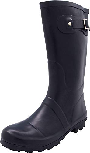 NORTY - Womens Hurricane Wellie Solid Matte Mid-Calf Rain Boot, Navy 40707-8B(M) US (Best Farm Rubber Boots)