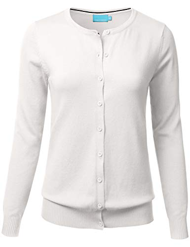 Women's Button Down Crew Neck Long Sleeve Soft Knit Cardigan Sweater Ivory S