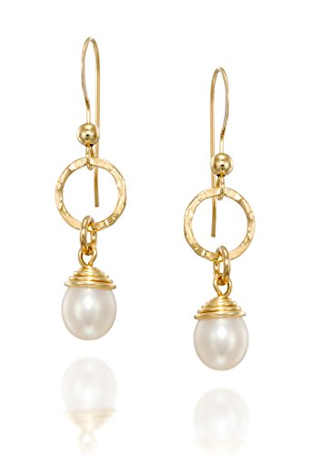 14k Gold-Filled Dangle Earrings with Hand Wrapped Cultured Pearls, Bridal Wedding Jewelry Bridesmaid Gift (14k Gold Filled Dangle Earrings)