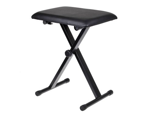 TMS Adjustable Leather Padded Piano Keyboard Bench Seat w/Rubber Feet Stool Chair by TMS