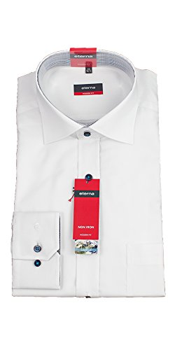 ETERNA Hemd, Modern Fit, Bügelfrei, Weiß ausgeputzter Kragen
