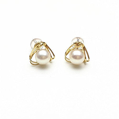 18K Yellow Gold Akoya Pearl Earrings Studs Round Pearl Stud Earrings Seawater Saltwater Japanese Akoya Pearls 5-5.5mm by PearlsStudio