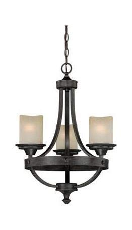 Black Walnut Halifax 3 Light Single Tier Chandelier with Glass Shades - 18 Inches ()
