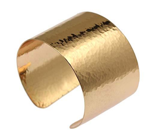 1 3/4 Inch Wide Hammered Bronze Cuff Bracelet