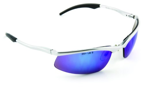 3M Safety Sunwear SS1428AS-S, Blue Mirror Lens, Silver Aluminum Frame, Anti-Scratch Coating ()