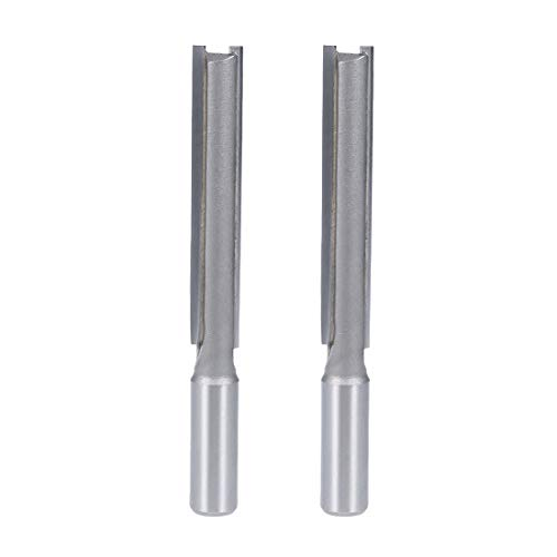 uxcell Router Bit 1/2 Shank 1/2 Dia. 3 inch Depth 2 Straight Flutes HSS for Woodworking Milling Cutter Tool 2pcs