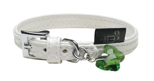 Dogit Style Milano X-Small Faux Leather Collar, 7/16-Inch by 7.8-Inch, White with Green Butterfly Glass Pendent