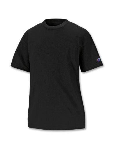 (Champion Boys Big Short Sleeve Jersey Tee, Black, S)