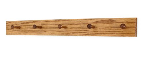 Solid Oak Shaker Peg Rack Made in The USA - Golden Oak Stain Stain 29 x 3.5 Inches with 5 (Oak Wall Mounting Rack)