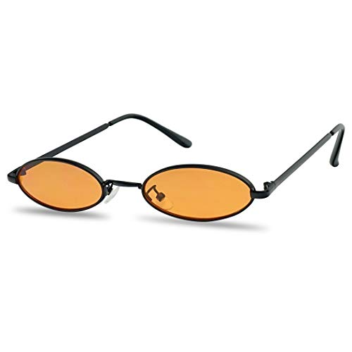 Wizard Large Ovals - Ultra Small Oval Vintage Sun Glasses Slim Retro Steampunk Slender Candy Color Tinted Shades (Black Frame | Orange)