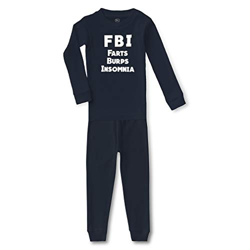 FBI Farts Burps Insomnia Cotton Crewneck Boys-Girls Infant Long Sleeve Sleepwear Pajama 2 Pcs Set Top and Pant - Navy, 6 Months -