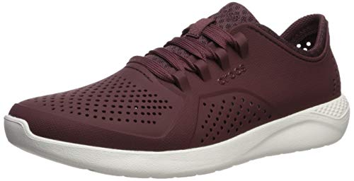(Crocs Men's Ltrdpacerm Sneaker, Burgundy/White, 4 M US)