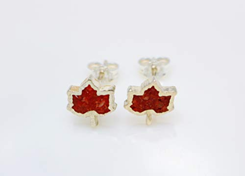 Leaf Glass Charm Silver Sterling (Maple Leaf Coral Micro Mosaic Sterling Silver Stud Earrings, Semi Precious Gemstone by Handmade Studio)