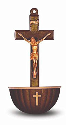 StealStreet SS-Wjh-1922BZ Bronzed Crucifix Plastic Holy Water Font by StealStreet