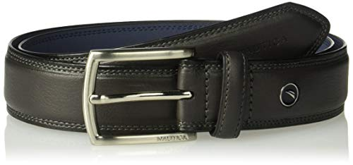 Nautica Men's Belt with Dress Buckle and Stitch Comfort, Grey, 32