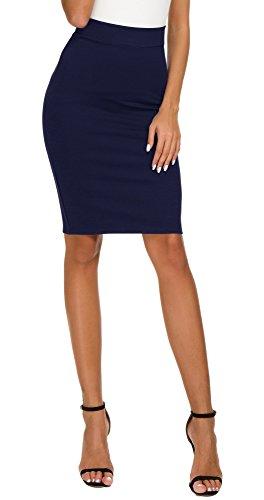 EXCHIC Women's High Waist Bodycon Midi Pencil Skirt (M, Navy Blue) ()