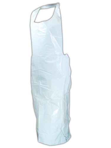 "Magid Safety EconoWear 120W USDA Accepted Disposable Aprons | 2-Mil Thick Seamless Polyethylene Disposable Aprons with Tie Closure - For Food Handling, 32"" x 55"", White (500 Aprons) by Magid Glove & Safety (Image #1)"