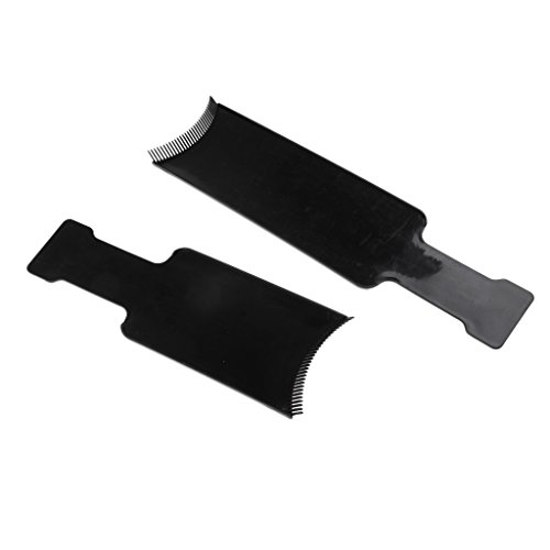 Baoblaze 2Pcs Hair Highlighting Coloring Board/ Hair Dyeing Tint Plate /Salon Styling Flat Top Comb-L&S ()