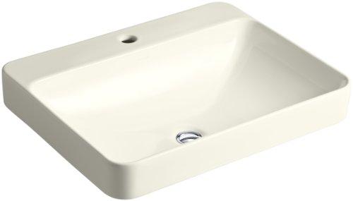 - KOHLER K-2660-1-96 Vox Rectangle Vessel Above-Counter Bathroom Sink with Single Faucet Hole, Biscuit
