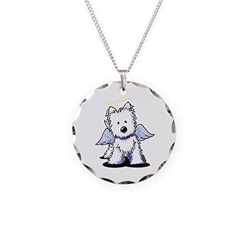 - CafePress Kiniart Westie Angel Charm Necklace with Round Pendant