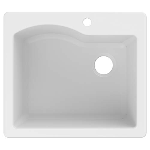 Kraus KGD-441WHITE Quarza Granite Kitchen Sink, 25-inch, White