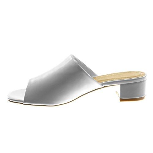 Angkorly Zapatillas Moda Sandalias Mules Slip-On Mujer Tacón Ancho Alto 4 cm Blanco