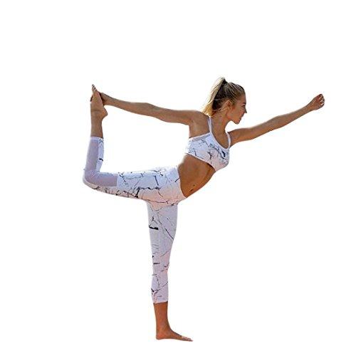 Price comparison product image Vanvler Women Tracksuit 2 Pcs, Ladies Tank Tops +Pants Set  Sport Wear Casual Suit Yoga (S, White)