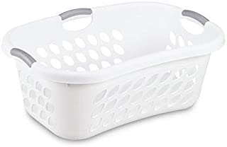 product image for Hip Hold Plastci Laundry Basket, White with Titanium Handles