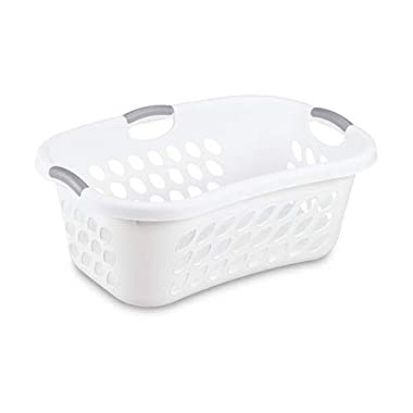 Hip Hold Plastci Laundry Basket, White with Titanium Handles