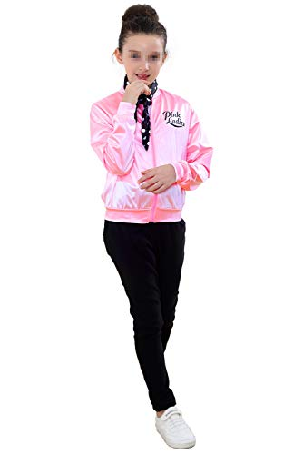 50S Grease T-Bird Danny Pink Ladies Satin Jacket Costume with Polka Dot Scarf for Girls (6, Pink) -
