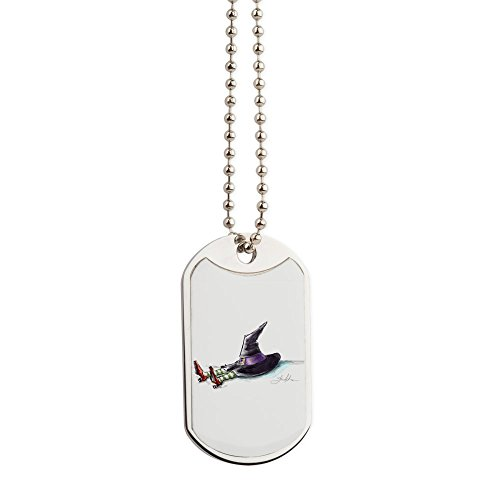 CafePress - Shrunk Witch Image_Edited-1-909 - Military Style Dog Tag, Stainless Steel with Chain