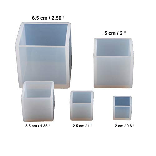 5PCS Square Resin Mold Cube Resin Casting Molding Silicone Molds Tools Set for DIY Craft Making Included 5 Size Silicone Resin Mold,10 PCS Wood Sticks,3 Mixing Cups,2 Measuring Cups (20pcs)