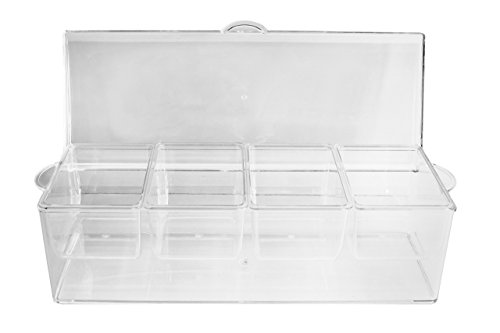Bar Condiment Holder - Ice Chilled Condiment Server and Organizer with 4 Removable Trays. Clear Caddy with Lid. Holds Fruit, Veggies, Cheese and more. Good for Pizza, Sundae, and Taco Toppings. Bar Top Condiment Cooler.