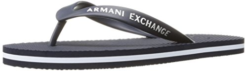 A|X Armani Exchange Men's Armani Exchange Solid Flip Flop, Navy/White, 8 M US