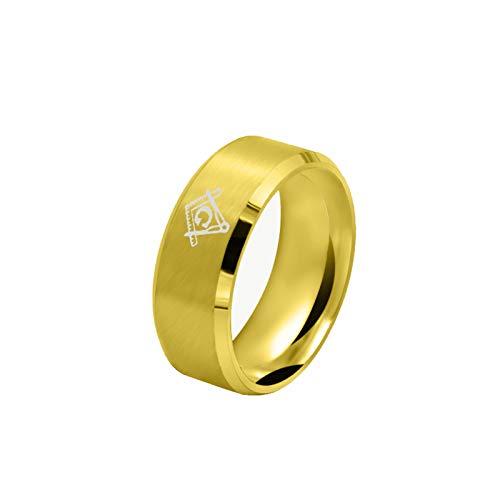 (Adisaer Men's Stainless Steel Ring Vintage Gothic Gold Freemason Masonic Engagement Ring for Men Size for 12)