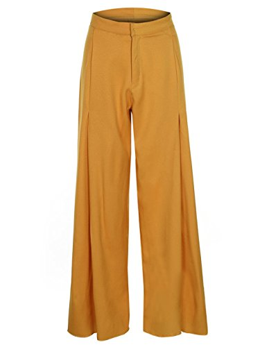 FAIRY COUPLE Womens High Waist Wide Leg Box Pleat Pants DP004(L,Yellow) by FAIRY COUPLE