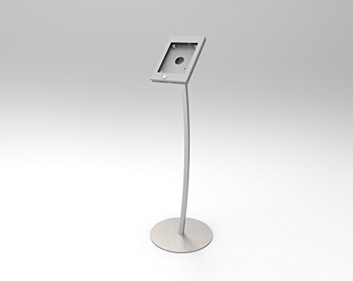 Fixture Displays iPad Podium Stand, Locking Enclosure, Ledge for Speaker's Notes, Power Cable - Silver 19614 by FixtureDisplays (Image #1)'