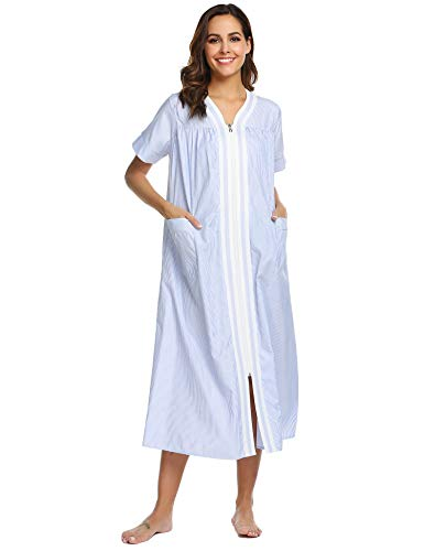 Ekouaer Sleepwear Women's Striped Zip Up Short Sleeve House Dress Long Nightgown Blue Medium ()