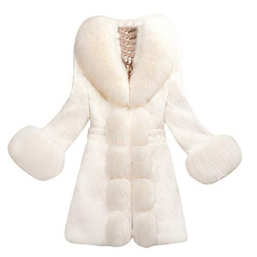 Baigoods Women Long Sleeve Parka Outwear Fox Fur Lady Faux Fur Hooded Asymmetric Hemline Coat …